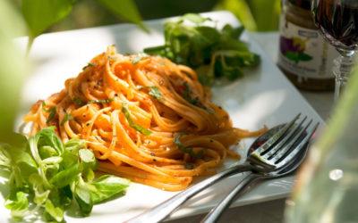 Spaghetti with Tomato & Aubergine Sauce