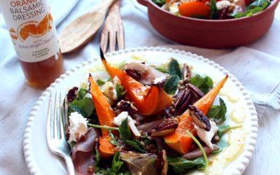 Roasted squash, Salad with Orange Balsamic Dressing